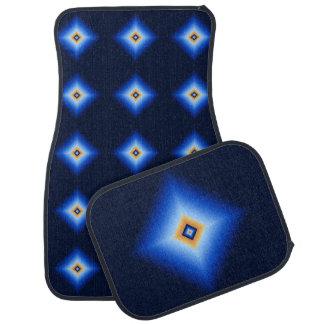 Blue and Tan Diamond Car Mat