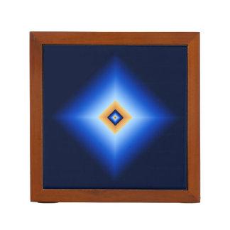 Blue and Tan Diamond Desk Organizer