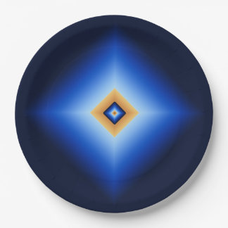 Blue and Tan Diamond Paper Plate