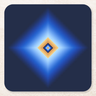 Blue and Tan Diamond Square Paper Coaster