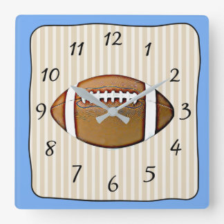 Blue and Tan Foorball Square Clock