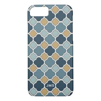 Blue and Tan Quatrefoil Triple Monogram iPhone 7 Case-Mate iPhone Case
