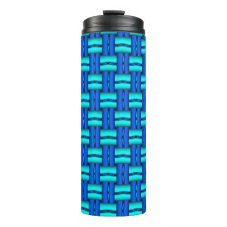 Blue and teal basket weave on thermal tumbler