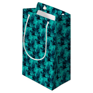 Blue and Teal Bright Abstract Pattern Small Gift Bag