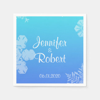 Blue and Teal Snowflake Posh Wedding Napkins