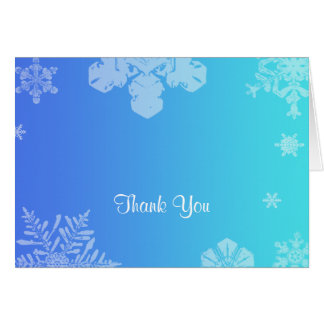 Blue and Teal Snowflake Posh Wedding Thank You Card