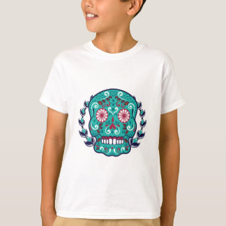 Blue and Teal Sugar Skull Laurel Leaf T-Shirt