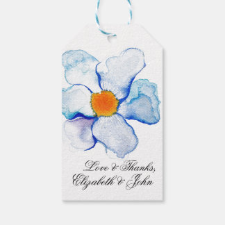 Blue and Teal Watercolor Floral Wedding Gift Pack Of Gift Tags