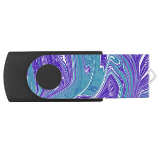 Blue and Teal Watercolor Marble USB Flash Drive