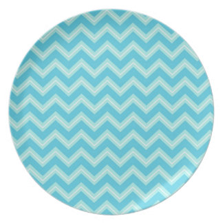 Blue and Turquoise Chevron Dinner Plate