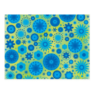 Blue and Turquoise Hippy Flower Pattern Postcard