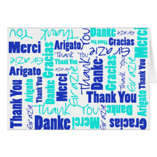 Blue and Turquoise Multilingual Thank You Card