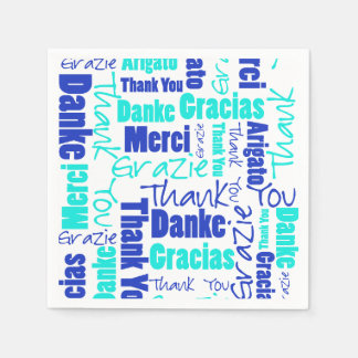 Blue and Turquoise Multilingual Thank You Disposable Napkins