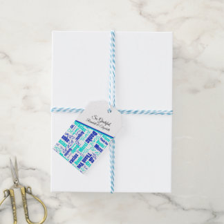 Blue and Turquoise Multilingual Thank You Gift Tags