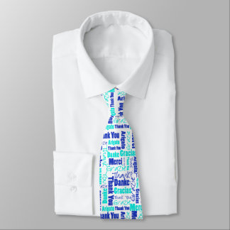 Blue and Turquoise Multilingual Thank You Tie