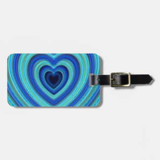 Blue and Turquoise Neon Lighted Hearts Luggage Tag