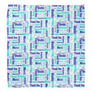 Blue and Turquoise Thank You Word Cloud Bandana