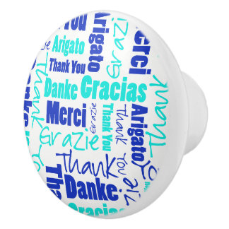 Blue and Turquoise Thank You Word Cloud Ceramic Knob