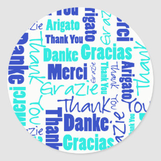 Blue and Turquoise Thank You Word Cloud Classic Round Sticker