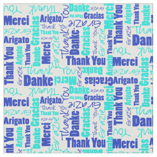 Blue and Turquoise Thank You Word Cloud Fabric