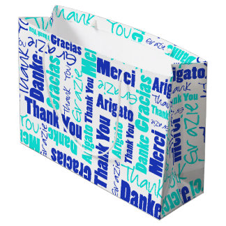 Blue and Turquoise Thank You Word Cloud Large Gift Bag