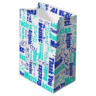 Blue and Turquoise Thank You Word Cloud Medium Gift Bag