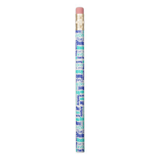 Blue and Turquoise Thank You Word Cloud Pencil