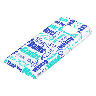 Blue and Turquoise Thank You Word Cloud Samsung Galaxy S7 Case