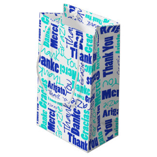 Blue and Turquoise Thank You Word Cloud Small Gift Bag