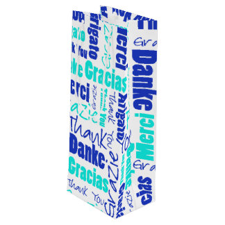 Blue and Turquoise Thank You Word Cloud Wine Gift Bag
