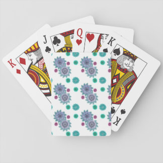 Blue and turquoise watercolor flowers poker deck