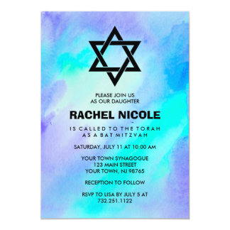 "Blue and Turquoise Watercolor Look Bat Mitzvah 5"" X 7"" Invitation Card"