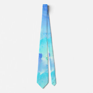 Blue and Turquoise WaterColor Look Neck Tie