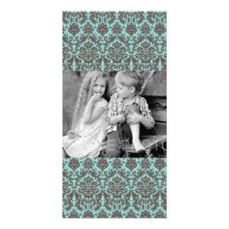 Blue and Umber Elegant Damask Pattern Photo Greeting Card