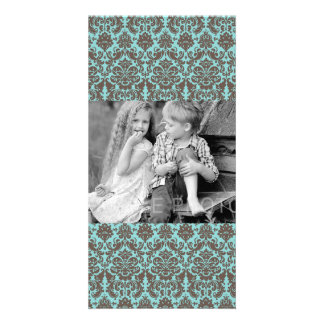 Blue and Umber Elegant Damask Pattern Picture Card