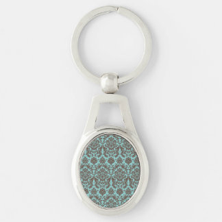 Blue and Umber Elegant Damask Pattern Silver-Colored Oval Keychain