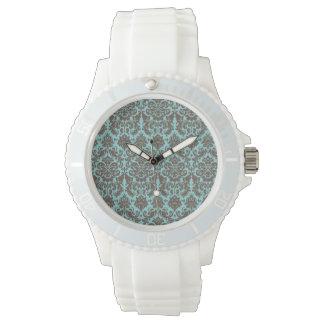 Blue and Umber Elegant Damask Pattern Wristwatches
