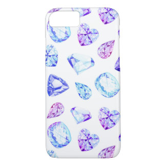 Blue and violet diamond crystals watercolor iPhone 8/7 case