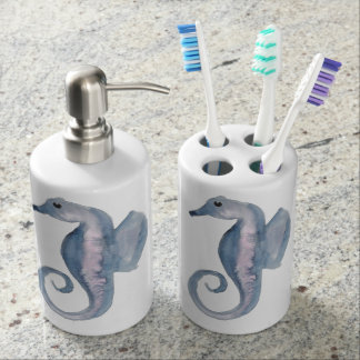 Blue and Violet Sea Horse Bathroom Set