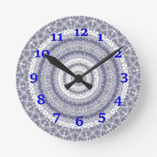 Blue And Whate Kaleidoscope Round Clock