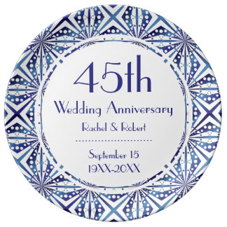 Blue and White 45th Anniversary Geometric Pattern Plate