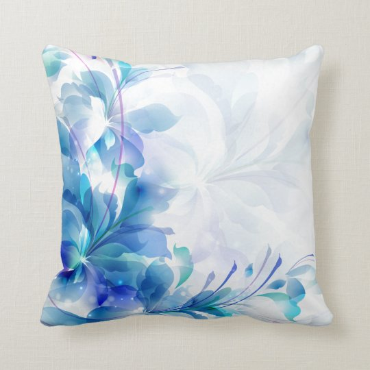 Blue And White Abstract Floral Design Throw Pillow