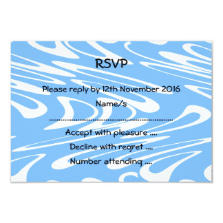 """Blue and White Abstract Pattern 3.5"""" X 5"""" Invitation Card"""