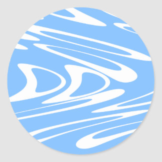 Blue and White Abstract Pattern Round Sticker