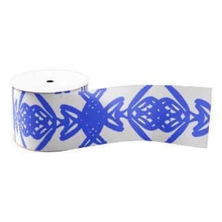 Blue and White Abstract Swirl Brush Design Pattern Grosgrain Ribbon