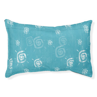 Blue and White Abstract Swirl Pattern Small Dog Bed