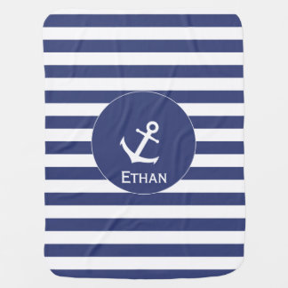 Blue and White Anchor Baby Blanket with Name
