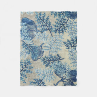 Blue and White Antique Weave Floral Blanket