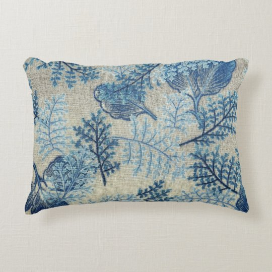 Blue and White Antique Weave Floral Throw Pillow