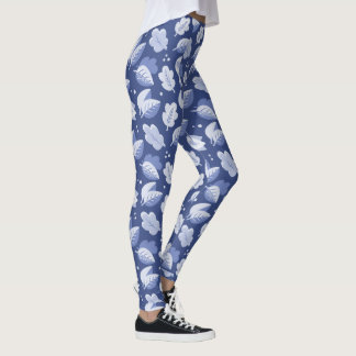 Blue and White Art Deco 1920s Style Leaf Pattern Leggings